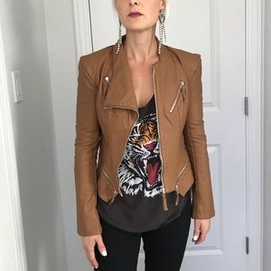 BLANK NYC tan motorcycle jacket